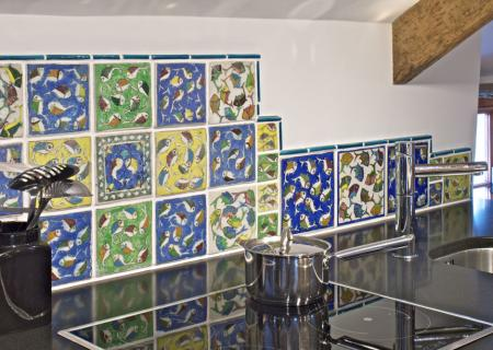 Hand painted Iranian fish tiles.